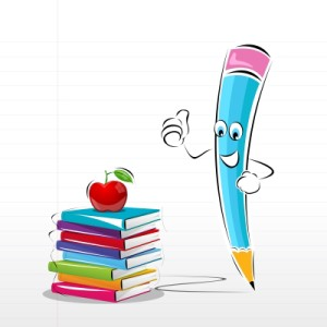 Pencil-whimsical with books ID-100243633
